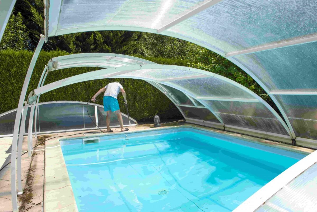 abri de piscine haut telescopique